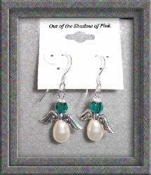 Guardian Angel Birthstone Earrings - Emerald (clicl to enlarge)