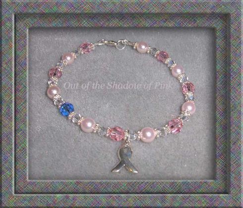 Male Breast Cancer Crystal and Pearl Bracelet with awareness charm